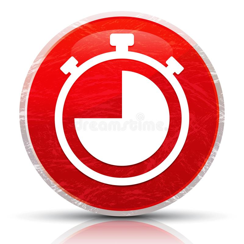 Stopwatch icon metallic grunge abstract red round button illustration. Stopwatch icon isolated on metallic grunge abstract red round button illustration royalty free stock photography