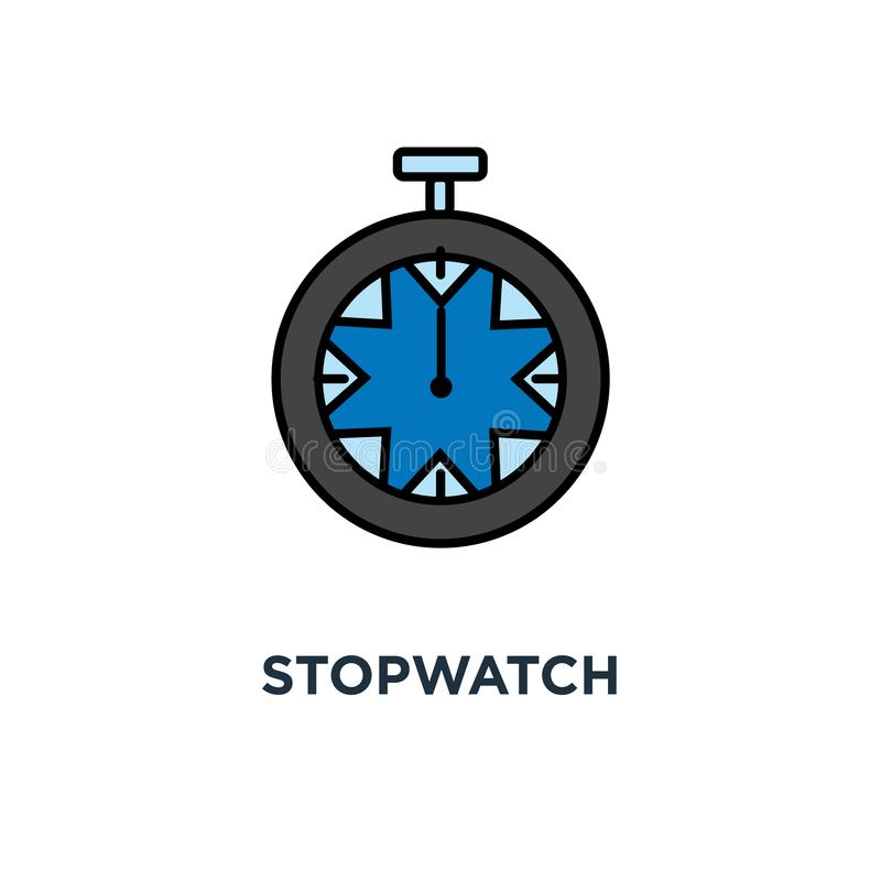 stopwatch icon. mechanical timer, countdown concept symbol design, sport watch, clock, chronometer or countdown, outline, vector vector illustration
