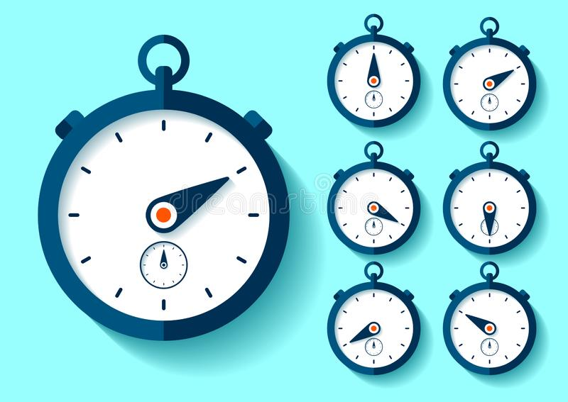 Stopwatch icon set in flat style, round timer on color background. Sport clock. Time tool. Vector design element for you business stock illustration