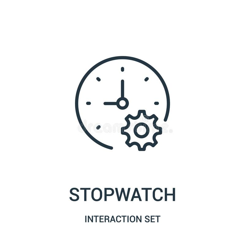 Stopwatch icon vector from interaction set collection. Thin line stopwatch outline icon vector illustration. Linear symbol for use on web and mobile apps, logo stock illustration