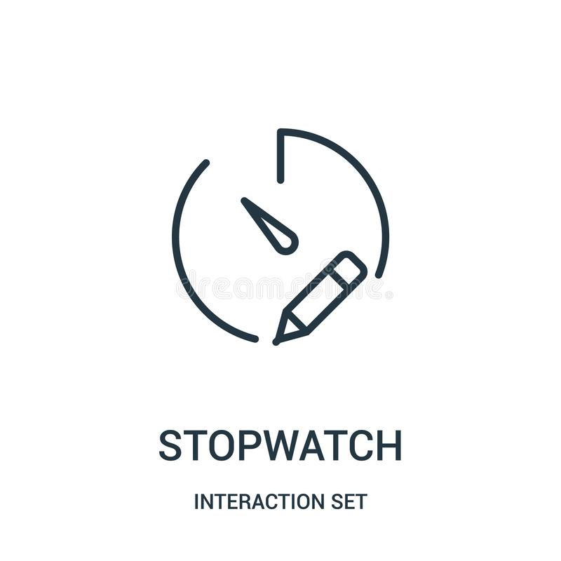 Stopwatch icon vector from interaction set collection. Thin line stopwatch outline icon vector illustration. Linear symbol for use on web and mobile apps, logo royalty free illustration