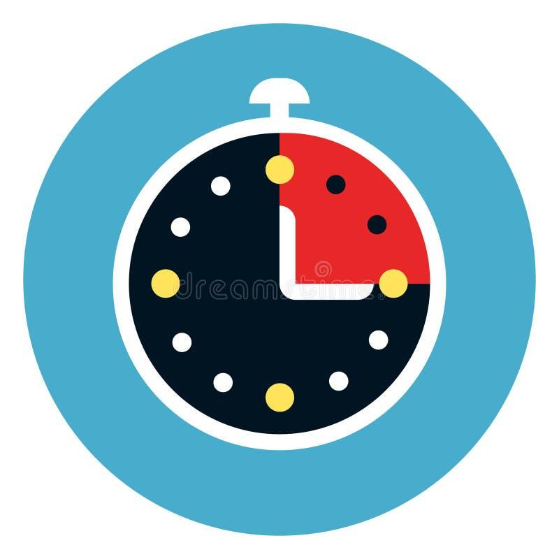 Stopwatch ikona Na Round Błękitnym tle royalty ilustracja