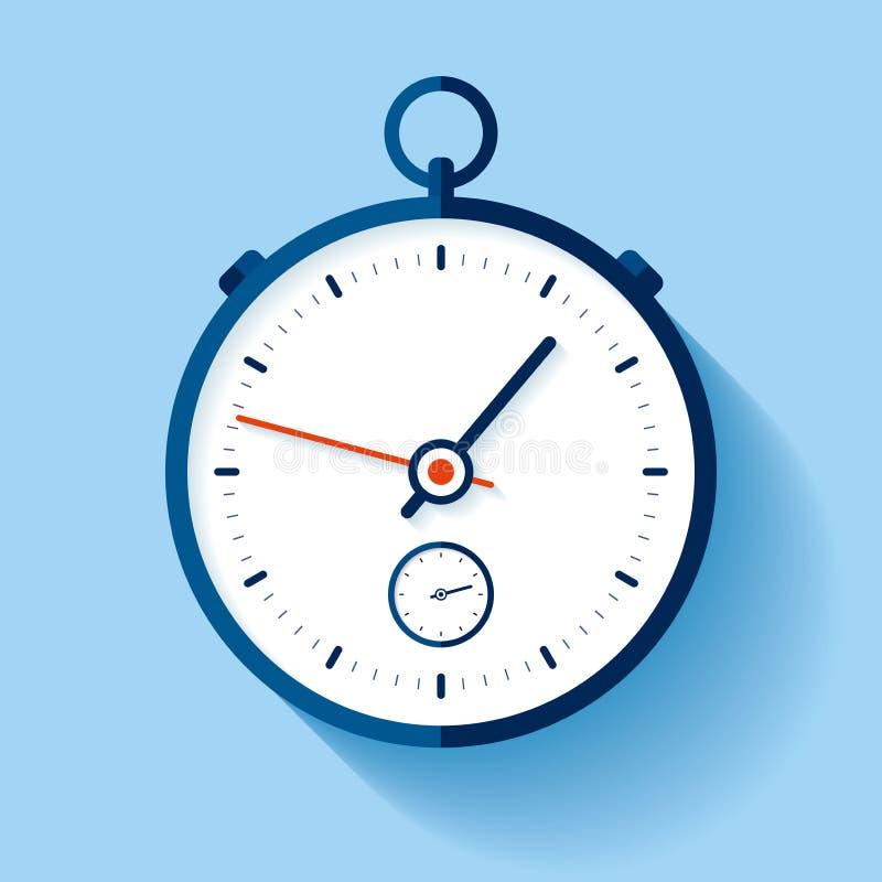Stopwatch ikona w mieszkanie stylu, round zegar na koloru tle Sporta zegar Czasu narz?dzie Wektorowy projekta element dla ciebie  royalty ilustracja