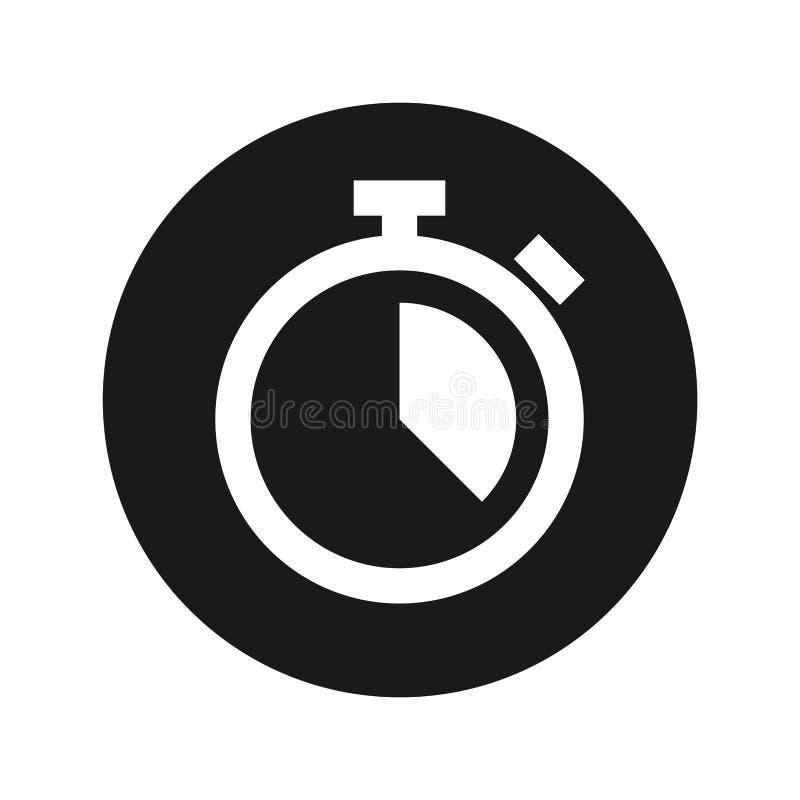 Stopwatch ikony płaskiego czerni round guzika wektoru ilustracja ilustracji