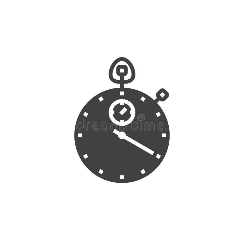 Stopwatch ikony wektor, stały mieszkanie znak, piktogram odizolowywający na bielu royalty ilustracja