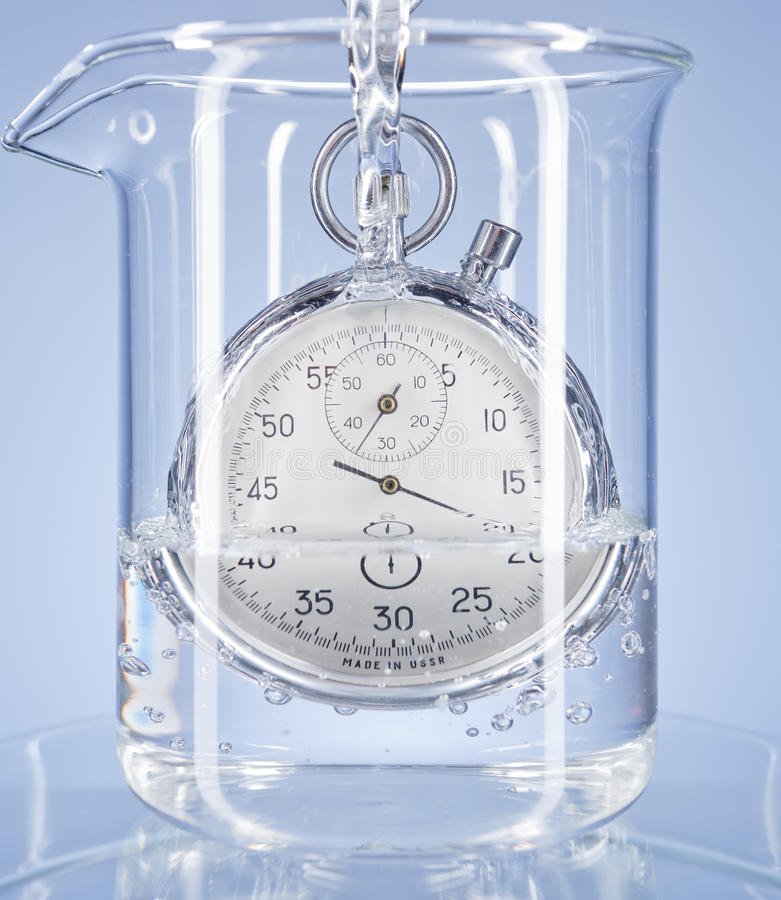 Free Stopwatch In A Glass With Water Stock Photos - 19166623