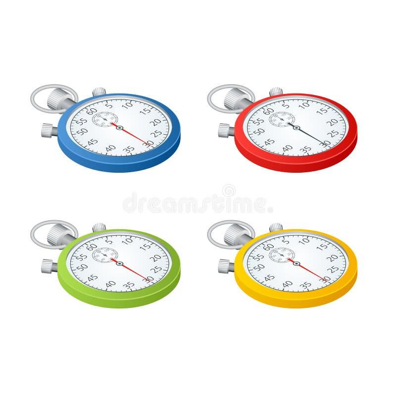 stopwatch Insieme dei temporizzatori Tempo di funzionare Il tempo sta esaurendosi Orologio, cronometro che sale su Vettore 3d iso illustrazione vettoriale