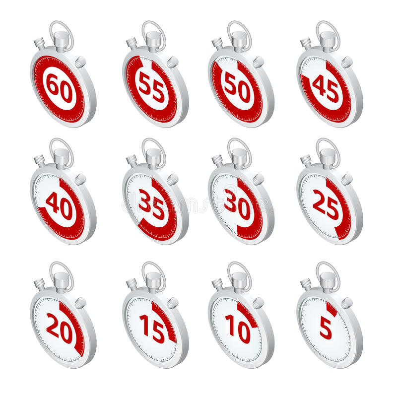 stopwatch Insieme dei temporizzatori Tempo di funzionare Il tempo sta esaurendosi Orologio, cronometro che sale su Vettore 3d iso illustrazione di stock
