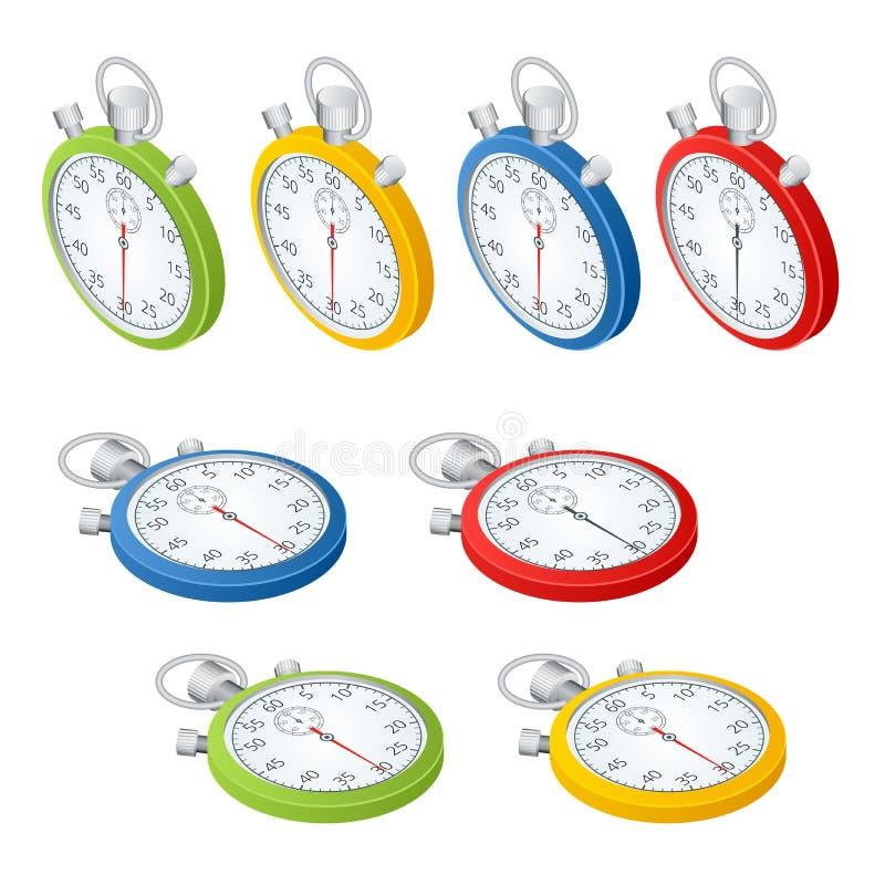stopwatch Insieme dei temporizzatori Tempo di funzionare Il tempo sta esaurendosi Orologio, cronometro che sale su Vettore 3d iso royalty illustrazione gratis