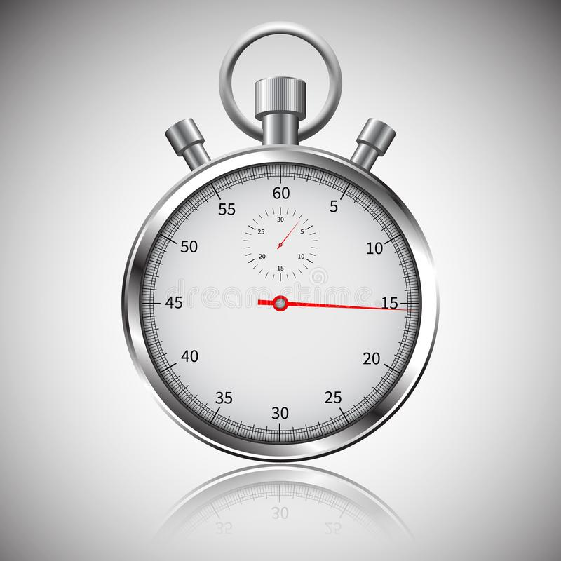 Stopwatch Klasyczny chromu stopwatch Szklani odbicia Ścinek ścieżka ilustracji