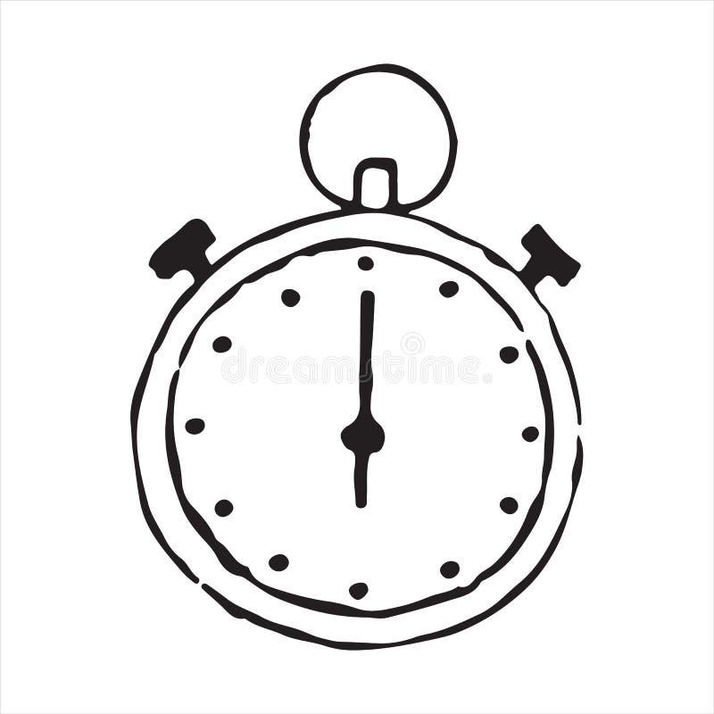 Stopwatch konturu doodle ręka rysująca ikona ilustracja wektor