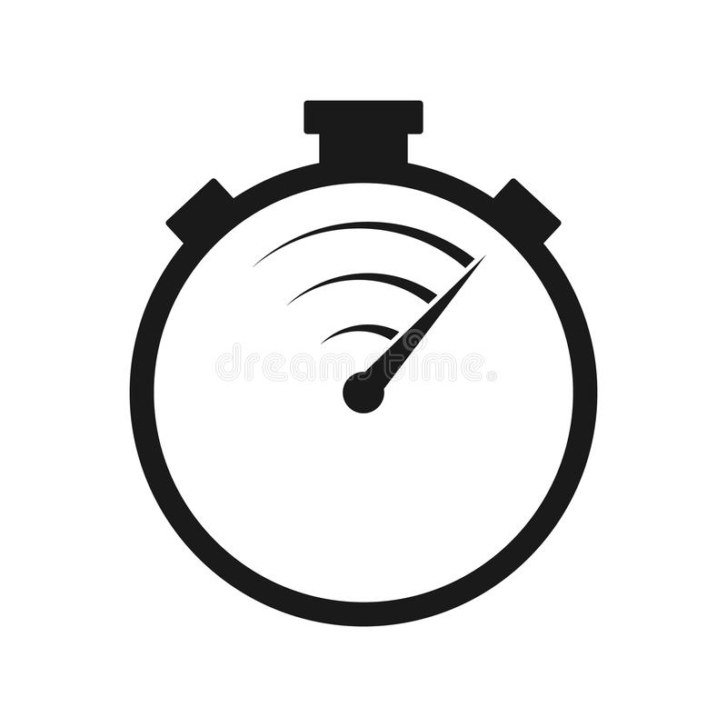 Stopwatch line vector icon. Fast time delivery stock illustration