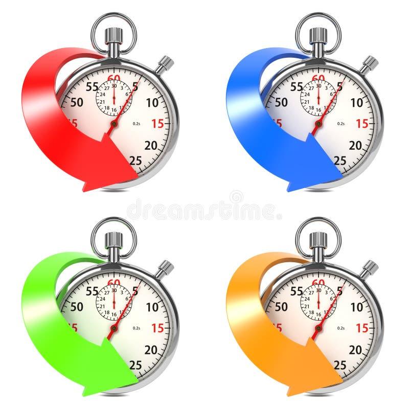 Stopwatch med den kulöra pilen. Ställ in på White. stock illustrationer