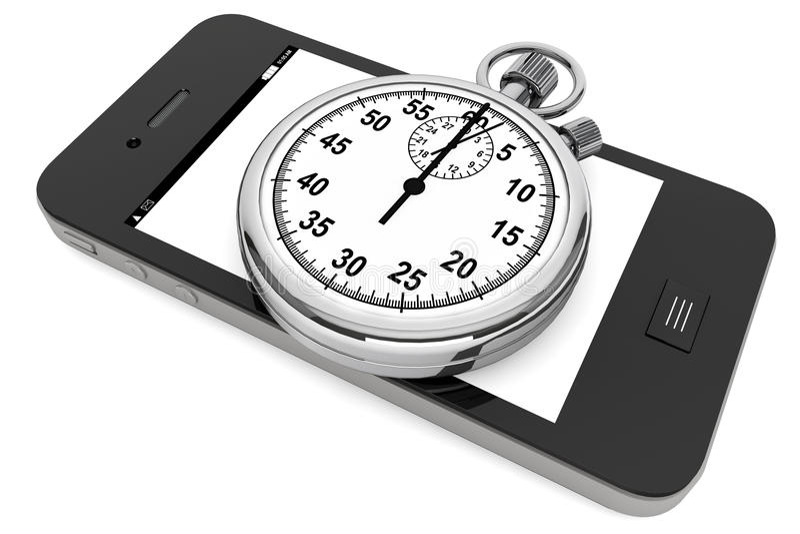 Stopwatch med den mobila telefonen royaltyfri illustrationer