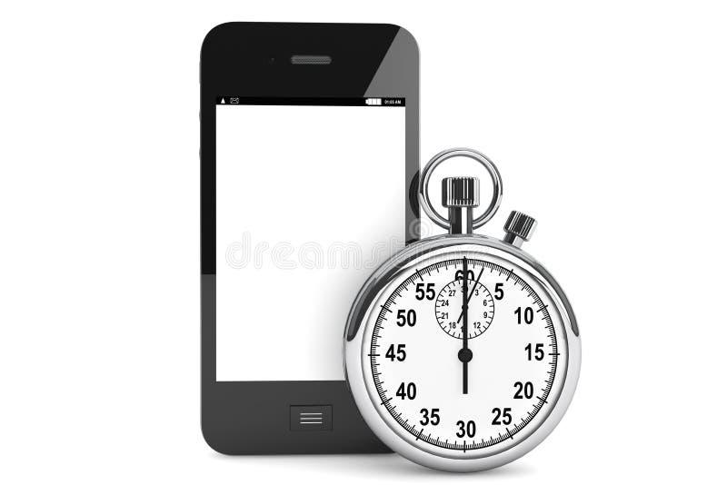 Stopwatch med den mobila telefonen stock illustrationer