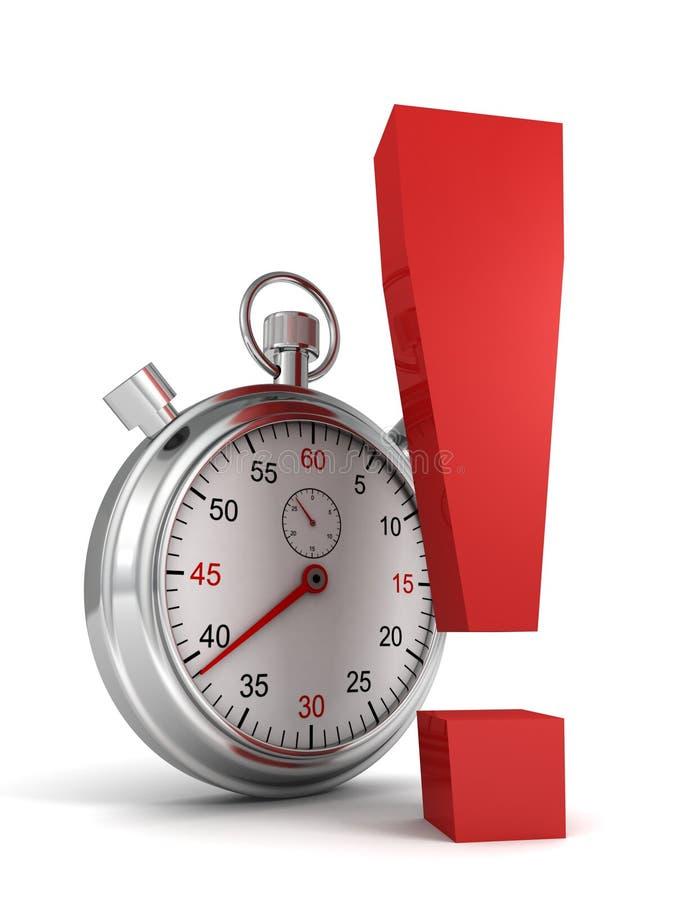 Stopwatch med den röda utropsteckenet stock illustrationer