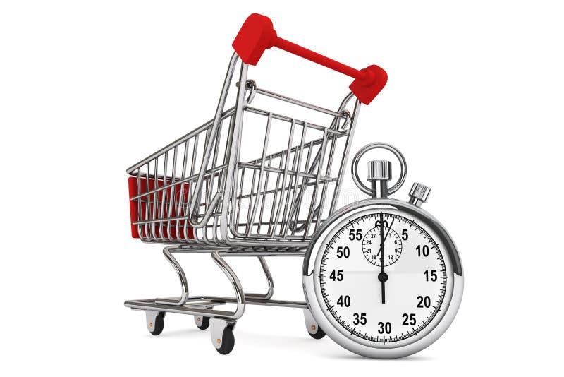 Stopwatch med shoppingvagnen stock illustrationer