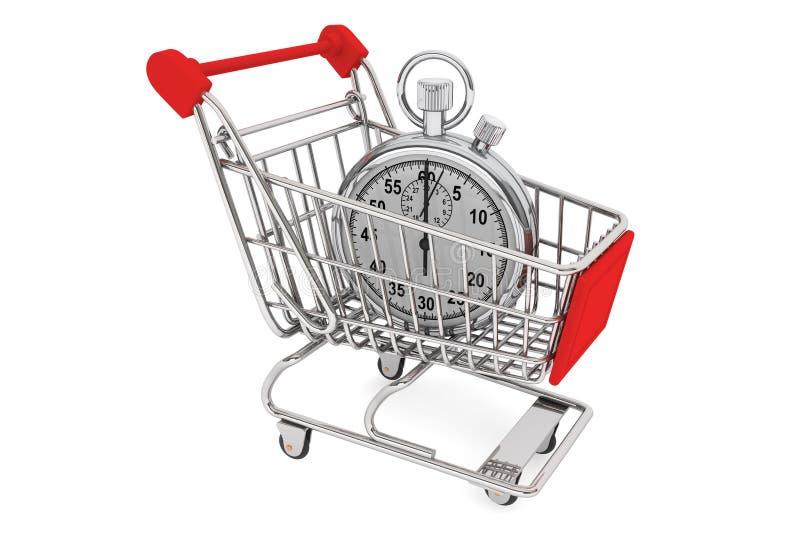Stopwatch med shoppingvagnen vektor illustrationer