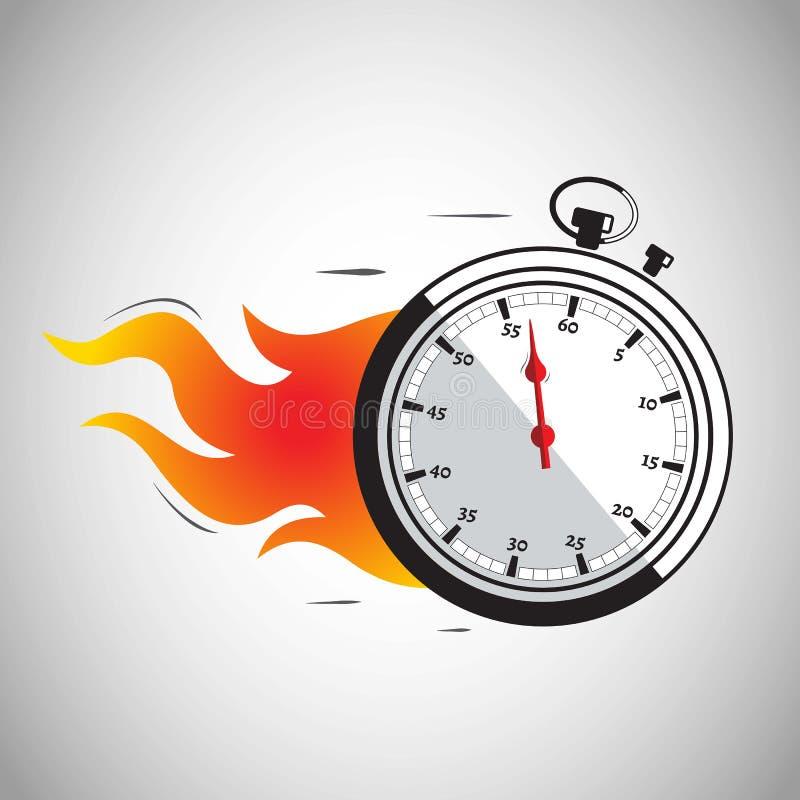 Stopwatch na ogieniu ilustracja wektor