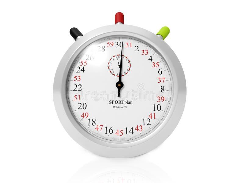 Stopwatch på vit bakgrund royaltyfri illustrationer