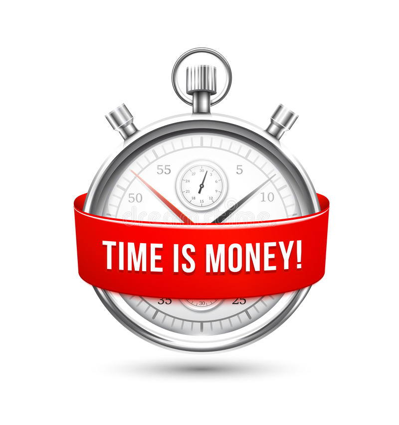 Stopwatch with Red Banner Stating Time is Money royalty free illustration