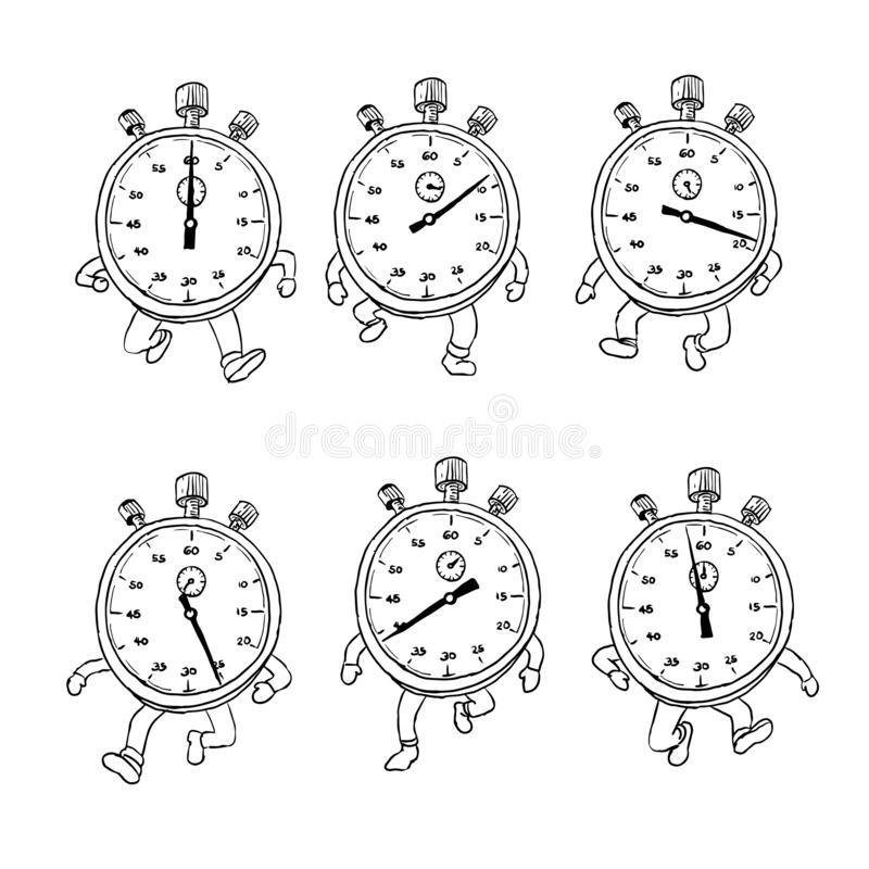 Stopwatch Running Run Cycle Drawing Sequence stock illustration