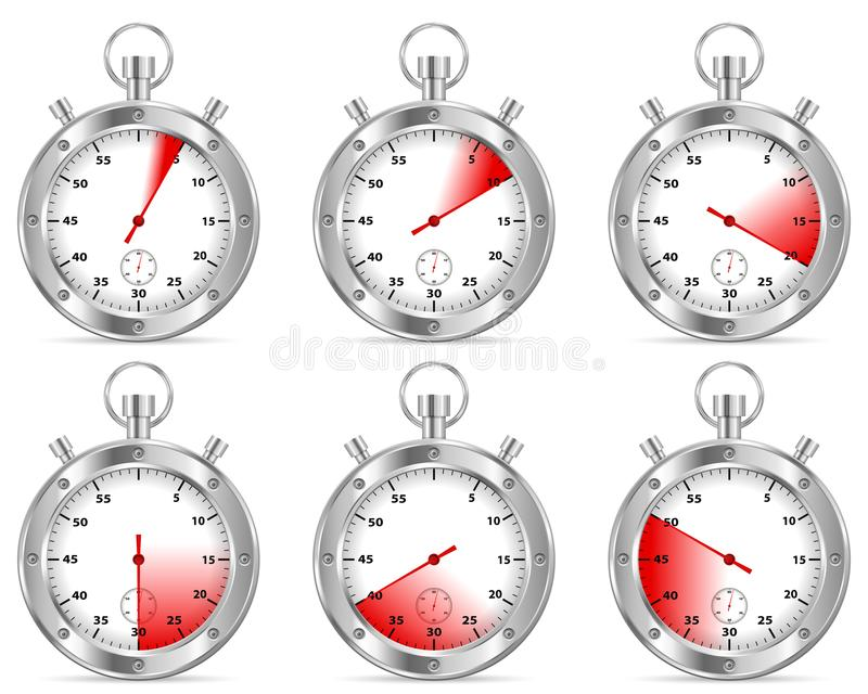 Stopwatch set vector illustration
