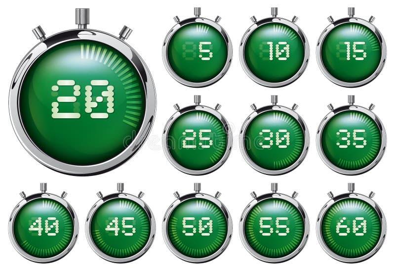 Stopwatch Set zieleni cyfrowi zegary ilustracji