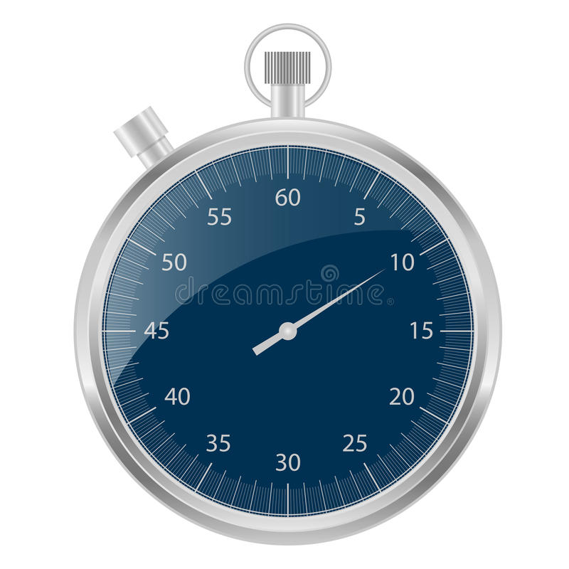 Stopwatch silver and blue royalty free illustration