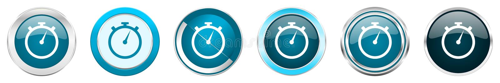 Stopwatch silver metallic chrome border icons in 6 options, set of web blue round buttons isolated on white background vector illustration