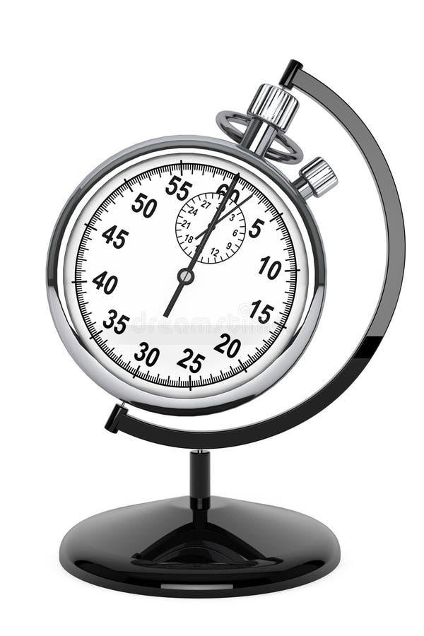 Stopwatch som jordklotet vektor illustrationer