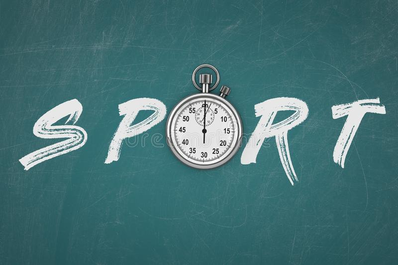 Stopwatch with Sport Sign. 3d Rendering stock images
