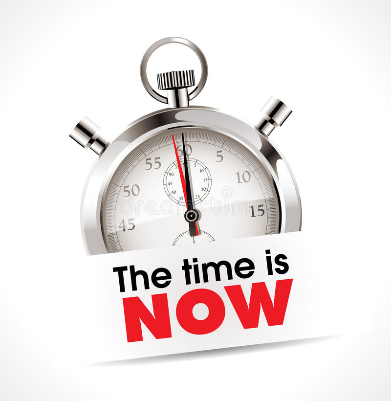 Stopwatch - the time is now. Time concept royalty free illustration