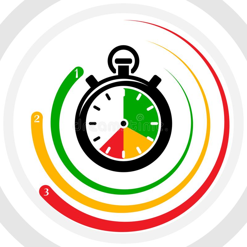 Stopwatch top three leader chart infographic countdown vector illustration royalty free illustration