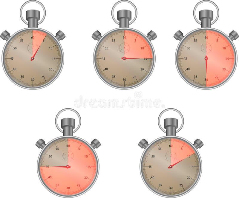 Stopwatch ustawiający z sektorem ilustracja wektor