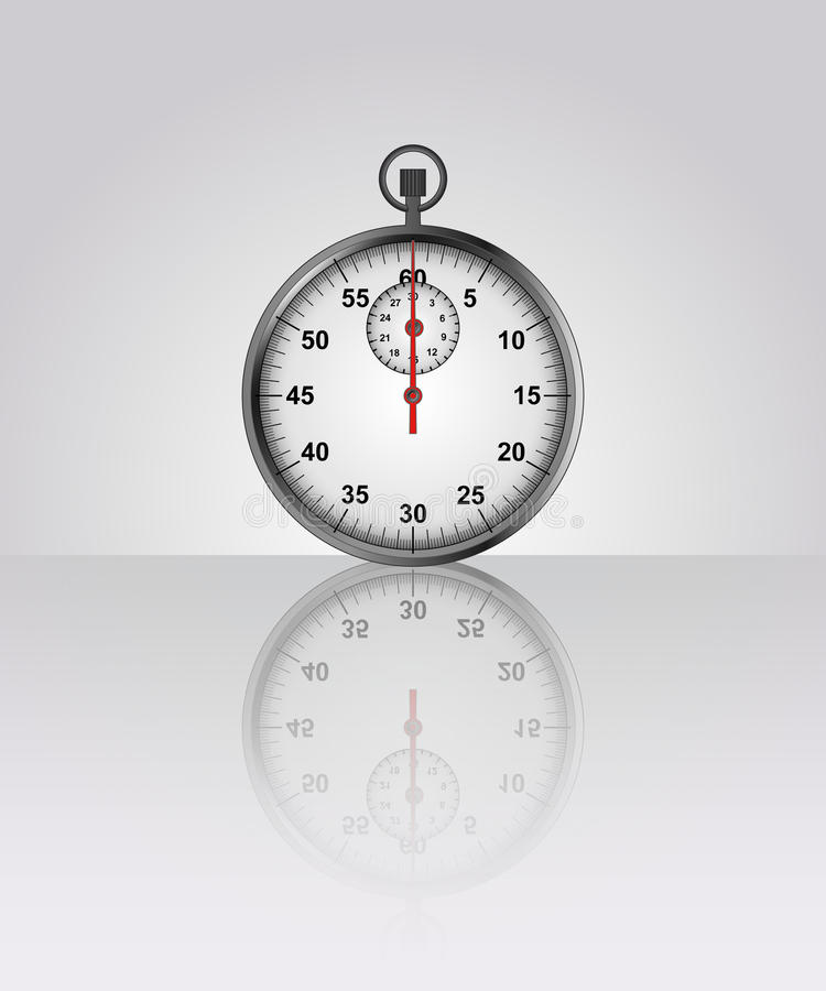 Stopwatch vector drawing with floor reflection. Illustration vector illustration