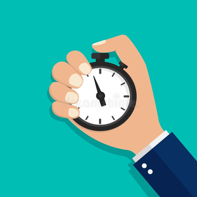 Stopwatch, watch or timer in hand. Stop time on competition. Businessman time control concept. Cartoon flat clock for start work,. Interval control royalty free illustration