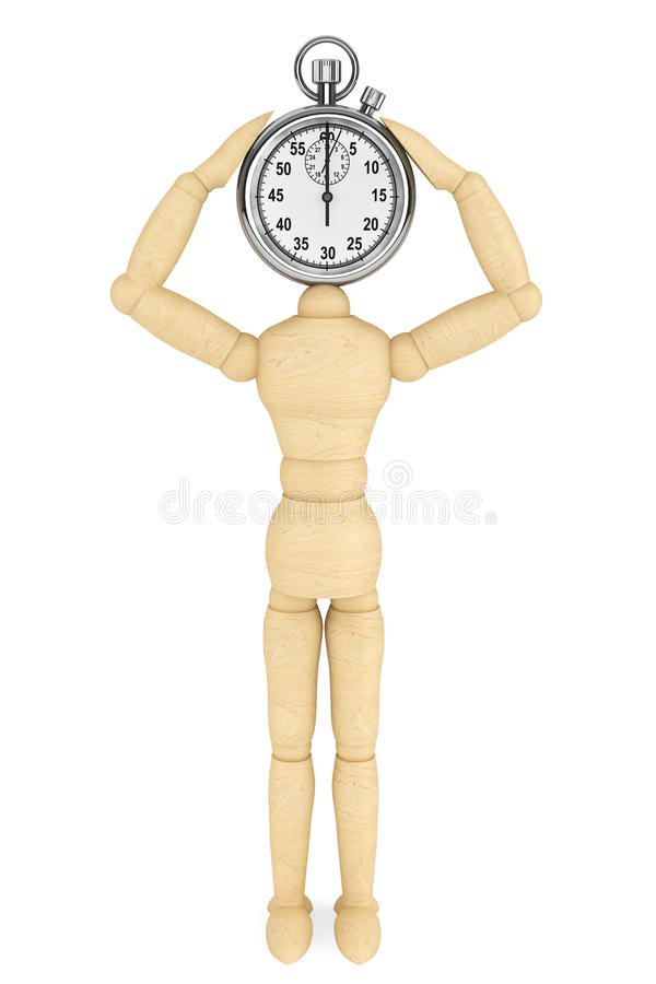 Download StopWatch With Wooden Dummy Stock Illustration - Image: 26534497