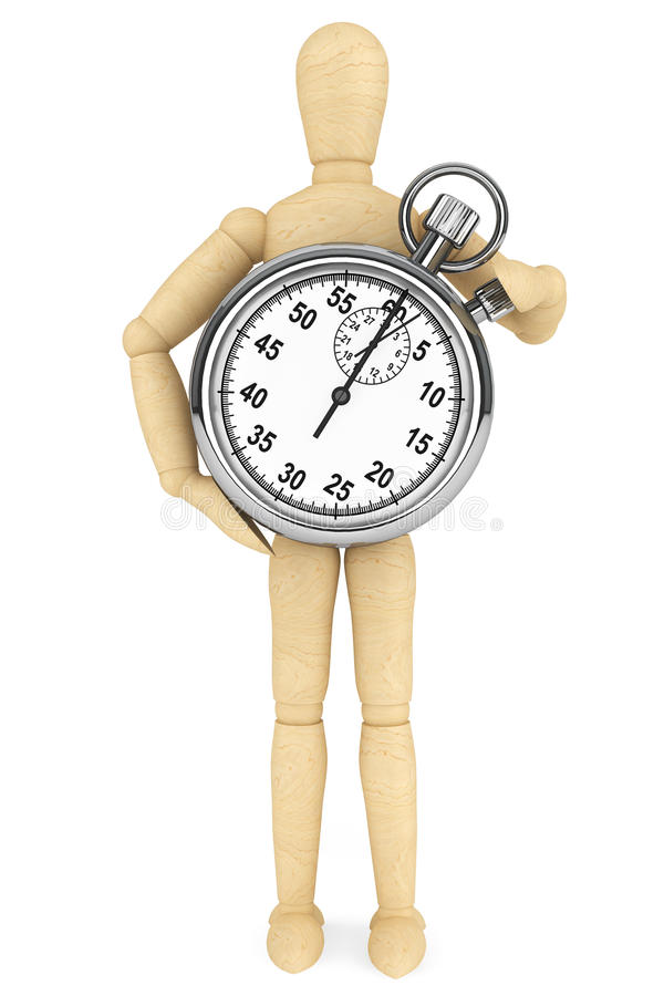 StopWatch with wooden dummy. On a white background stock image