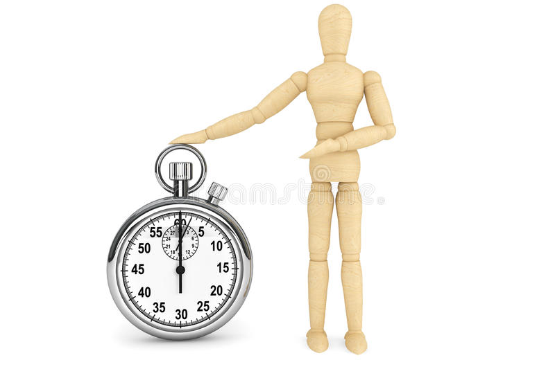 StopWatch with wooden dummy. On a white background stock photos