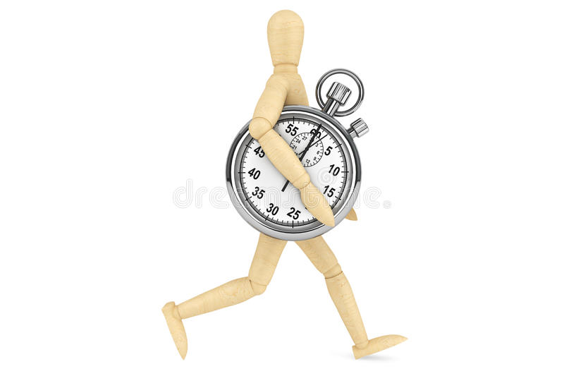 StopWatch with wooden dummy. On a white background royalty free stock photography