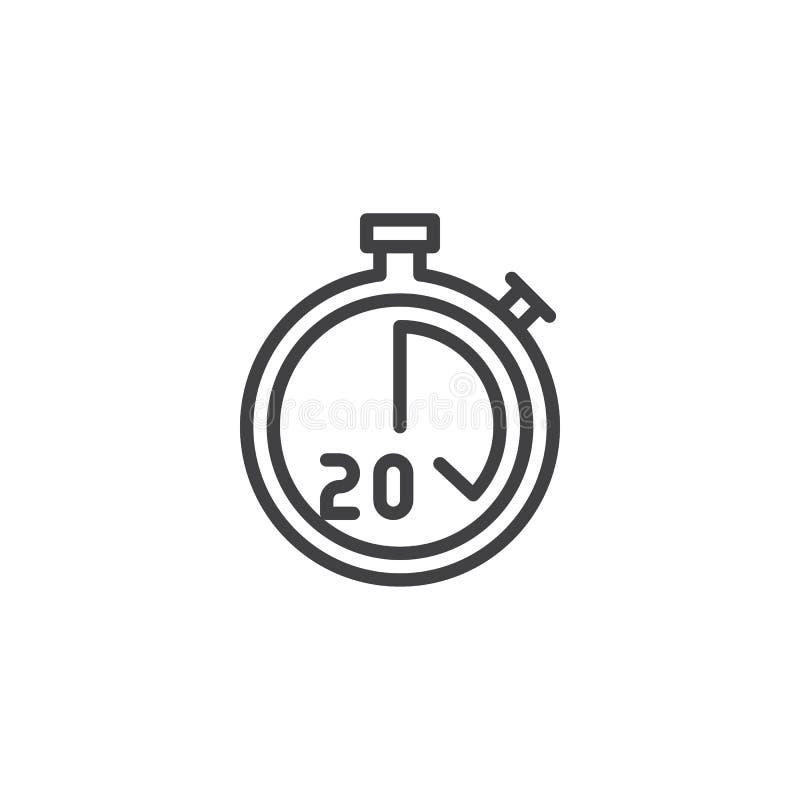 Stopwatch z 20 minut doręczeniowego czasu linii ikoną ilustracja wektor
