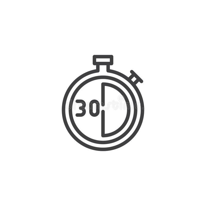 Stopwatch z 30 minut doręczeniowego czasu linii ikoną ilustracji