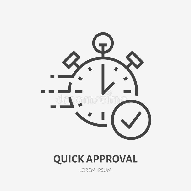 Stopwatch, zegarowa mieszkanie linii ikona Szybki pieniądze transakci pojęcia znak Cienieje liniowego loga dla pieniężnych usługa ilustracji