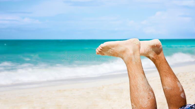 Stopy Plażowi Człowieku Zdjęcie Stock