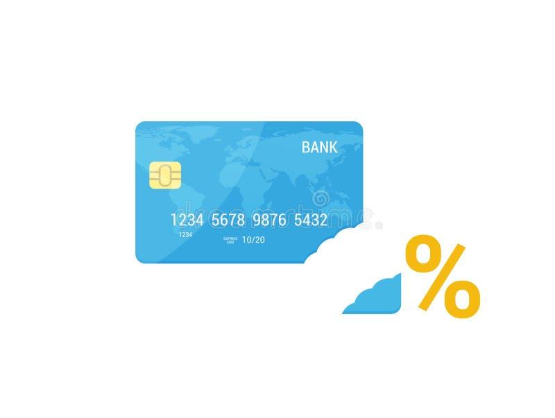 Stopy Procentowej pojęcie w mieszkanie stylu Icolated Kredytowej karty karta royalty ilustracja