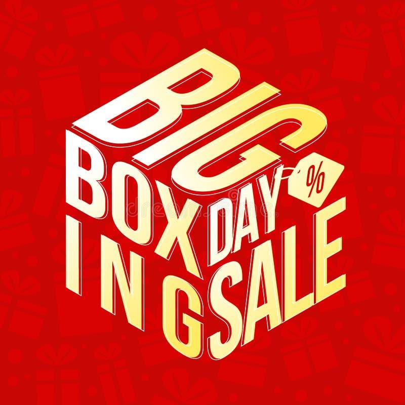 Stor annandag med den stora annandagförsäljnings- och procentetiketten som göras för att boxas gåvan på röd design för vektor för royaltyfri illustrationer