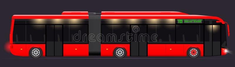 Stor artikulerad buss Rött med modern design Slapp fokus Genomskinliga fönster Mörk nattbakgrund royaltyfri illustrationer