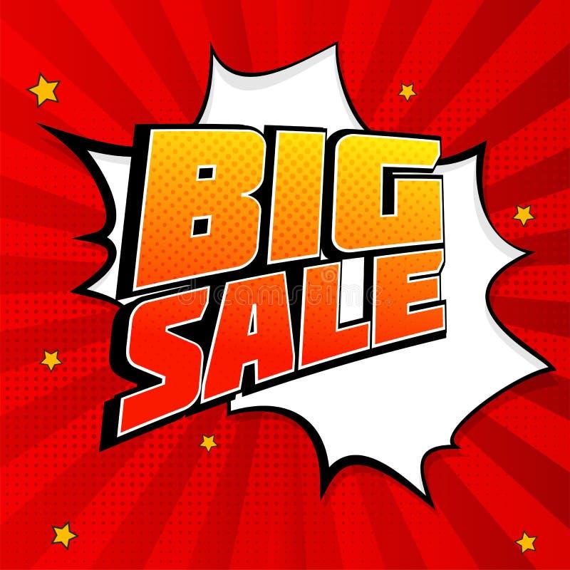 Stor bakgrund för färgstänk för försäljningspopkonst, explosion i komiker bokar stil Advertizingskylt, prisförminskning, försäljn vektor illustrationer