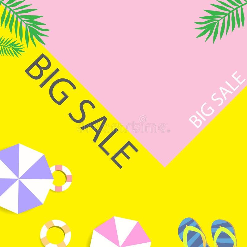 Stor bakgrund för försäljningssommartid rosa yellow royaltyfri illustrationer
